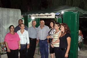 The mayor of Aley (4th from right) at one of JMP–L's stands.