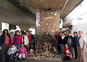 JMP–L's Community Development Core Committee, with the participation of community members of all ages, set up an outdoor Christmas manger scene under the Bourj Hammoud bridge.