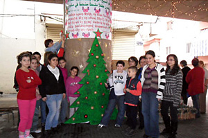 Students from the Armenian schools of the area played a major role in the preparation of the decorations.