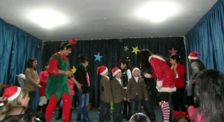 "The ""Ourakh Daretarts"" Group entertains the children during the party."