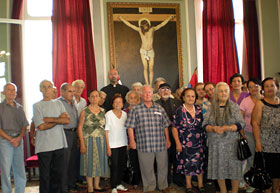 The group of elderly during their daylong trip to the Armenian Catholic Monastery in Bzommar.