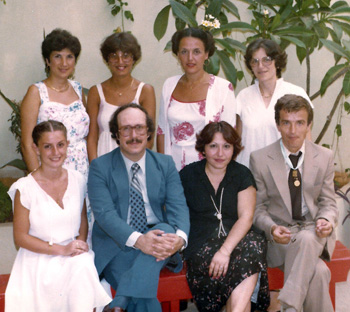 A photo taken on JMP–L premises on August 12, 1980, showing JMP–L staff, including the late Mr. Haig Tilbian (front, 2nd from left), then Acting Field Director, and the late Mr. Hans Schellenberg (front, 4th from left), then JMP Field Director.