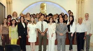 Program participants with the trainers, the JMP‍–L director (front, 4th from right), and the Mesrobian College principal (front, 3rd from right)