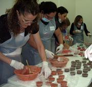 Trainees learn to make soap at the Talassian Hall.