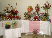 Flower arrangements prepared for the exhibition-sale